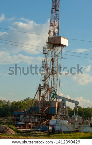 Oil drilling rigs, drilling, piercing, petroleum, petrol, naphtha, mineral oil, rock-oil #1412390429