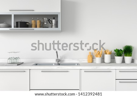 White kitchen countertop with sink for mockup, 3D rendering #1412392481
