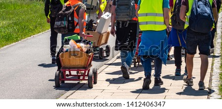 men's day with handcart in germany Royalty-Free Stock Photo #1412406347