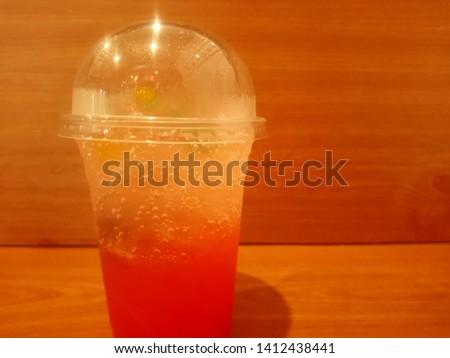 a glass of strawberry Italian soda.  #1412438441
