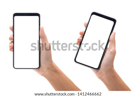 Set of woman hand holding the black smartphone with blank screen isolated on white background with clipping path. #1412466662
