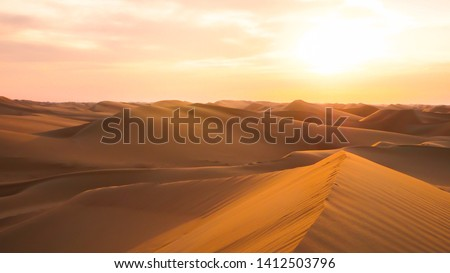 Amazing desert sunset. Beautiful Arabian desert with warm colors. Colorful contours of sand dunes at Abu Dhabi.  #1412503796