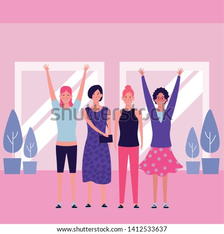 women with hands up avatar cartoon character indoor and plants vector illustration graphic design #1412533637