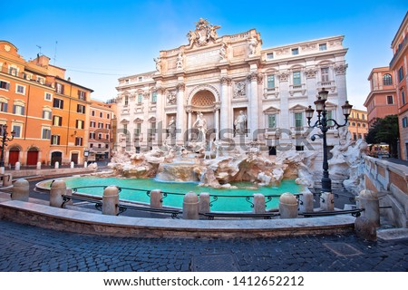 Majestic Trevi fountain in Rome street view, eternal city, capital of Italy #1412652212