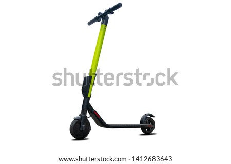 Electric kick modern scooter isolated on white background. Eco alternative transport concept. #1412683643