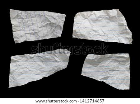 Collection of ripped paper isolated on black background with copy space for text #1412714657