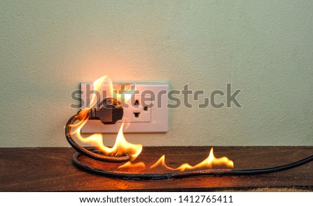 On fire electric wire plug Receptacle wall partition,Electric short circuit failure resulting in electricity wire burnt #1412765411