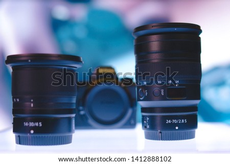 Jakarta, Indonesia - June 1, 2019: NIKKOR Z 24-70mm f/2.8 S lens and NIKKOR Z 14-30mm f/4 S lens. #1412888102