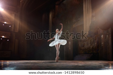 Ballet. Classical ballet performed by a couple of ballet dancers on the stage of the opera house. Royalty-Free Stock Photo #1412898650