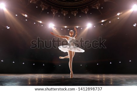 Ballet. Classical ballet performed by a couple of ballet dancers on the stage of the opera house. #1412898737