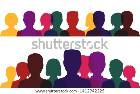 Silhouettes of people, multicolored profile of men and women on a white background. #1412942225