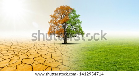 Drought and Green Nature Landscape #1412954714