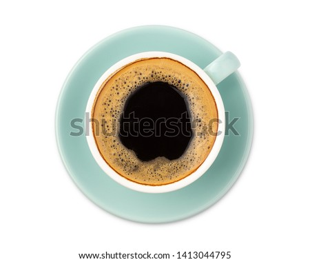 blue coffee cup top view isolated on white background. with clipping path. #1413044795