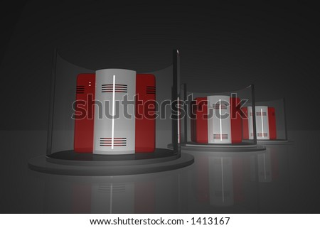 Rendered computer like objects in glassy racks. #1413167