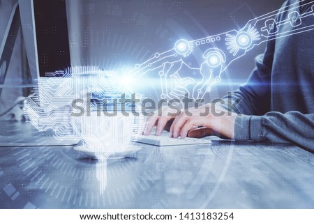 Man with computer background with brain theme hologram. Concept of brainstorm. Double exposure. #1413183254