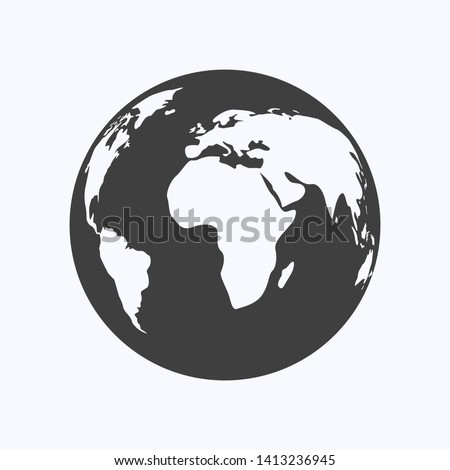 Globe flat design style on white background, vector illustration