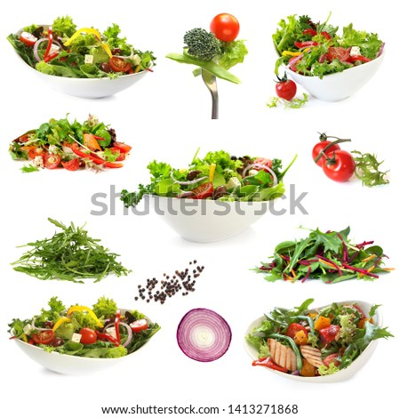 Collection of salads, isolated on white.  Includes green salad, garden salad, greek salad, chicken salad, and ingredients. #1413271868