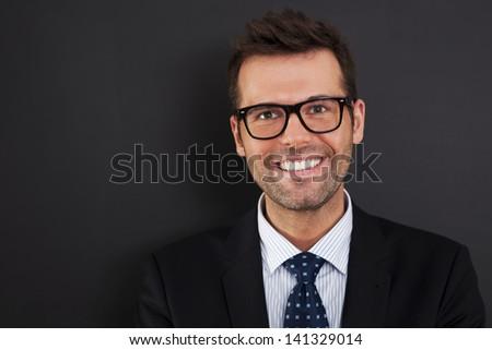 Portrait of handsome businessman wearing glasses   #141329014