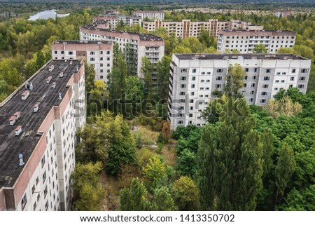 Aerial view on residential area of abandoned Pripyat city in Chernobyl Exclusion Zone, Ukraine #1413350702