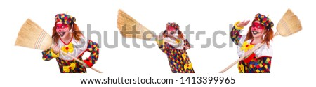 Clown with broom isolated on white #1413399965
