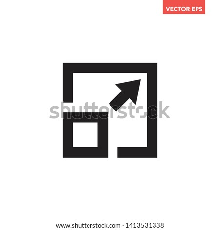 Black soil stroke increase full screen sizes with arrow icon, simple interface concept elements, app ui ux web button logo, graphic flat design pictogram vector eps 10 isolated on white background