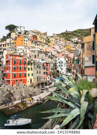Riomaggiore, Italy - April 21, 2019 Village of Riomaggiore in Cinque Terre in Italy #1413598886