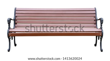 Brown wooden bench with a decorative ornate metal legs and armrests, isolated on a white background #1413620024