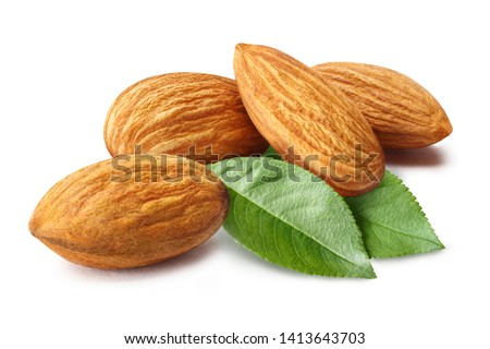 Close-up of almonds with leaves, isolated on white background #1413643703