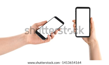 Set with people holding smartphones on white background, closeup of hands. Space for text #1413654164