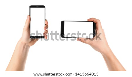 Set with men holding smartphones on white background, closeup of hands. Space for text #1413664013