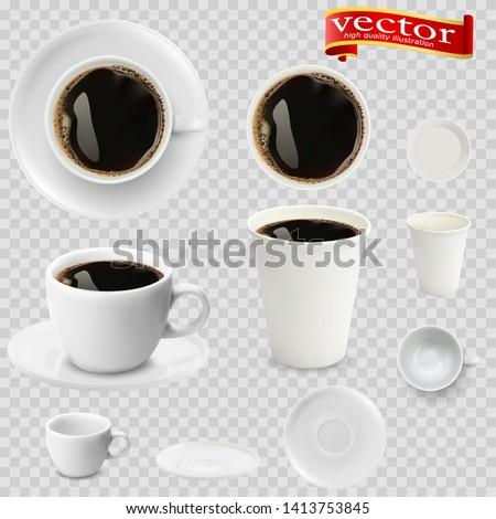 3d realistic espresso coffee in white cups view from the top and side. Espresso coffee in white paper Cups. A Cup of espresso coffee and saucer, top view, realistic vector #1413753845