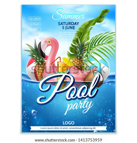 Summer pool party poster. Tropical leaves, fruits, infatable pink flamingo on underwater background with blue cloud sky. Vector beach holiday party, summertime vacation banner #1413753959