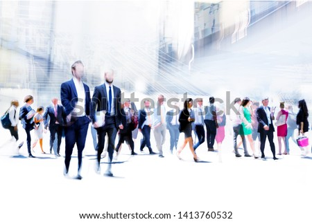 Business people rushing in the City of London against on the skyscrapers. Beautiful abstract blurred image representing modern business life, success, moving concept. #1413760532
