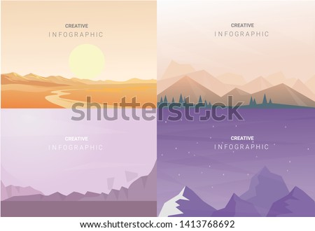 Abstract landscape set, Vector banners set with polygonal landscape illustration, Minimalist style #1413768692