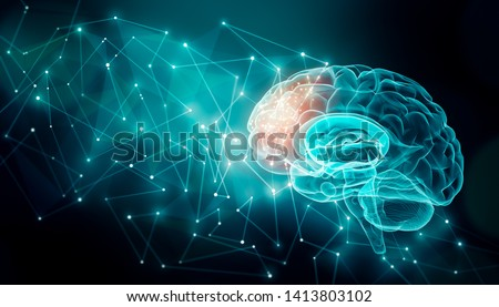 Human brain activity with plexus lines.. External cerebral connections in the frontal lobe. Communication, psychology, artificial intelligence or AI,  cognition concepts illustration with copy space