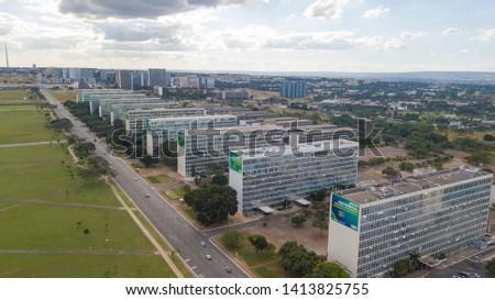 Brasilia, DF, Brazil - Jun, 1, 2019: Aerial view of Ministries Esplanade in the city. #1413825755