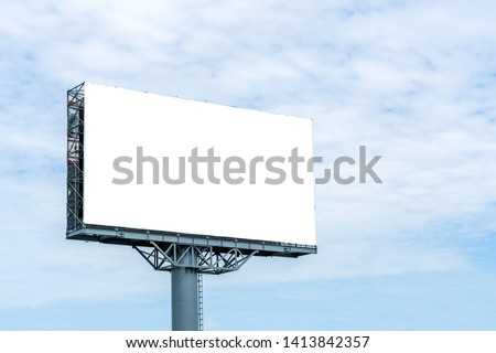 Blank billboard mockup with white screen against clouds and blue sky background. Copy space banner for advertisement. Business Concept.  #1413842357