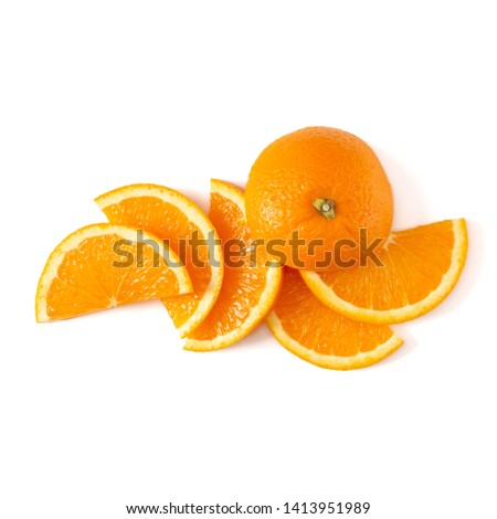 Orange fruit slice layout isolated on white background closeup. Food background. Flat lay, top view. #1413951989