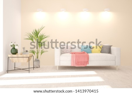 Stylish room in white color with sofa. Scandinavian interior design. 3D illustration #1413970415