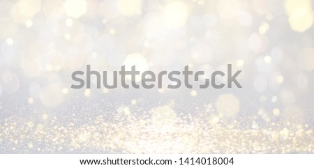 Christmas and Happy new year on blurred bokeh with snowfall banner background  #1414018004