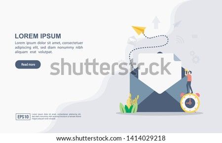 """Vector illustration of email marketing & message concept with """"email"""" send message and message notification sign #1414029218"""