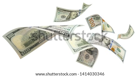 Flying 100 American dollars banknotes, isolated on white background #1414030346