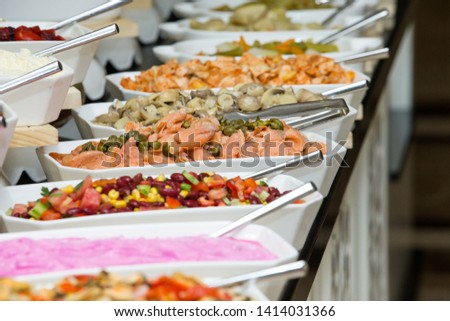 tray of assorted food for salad buffet #1414031366