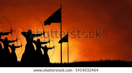 Abstract fantasy silhouette design art of group of ancient warriors firing arrows with bows at the battlefield with fire blast battle in the background Royalty-Free Stock Photo #1414032464