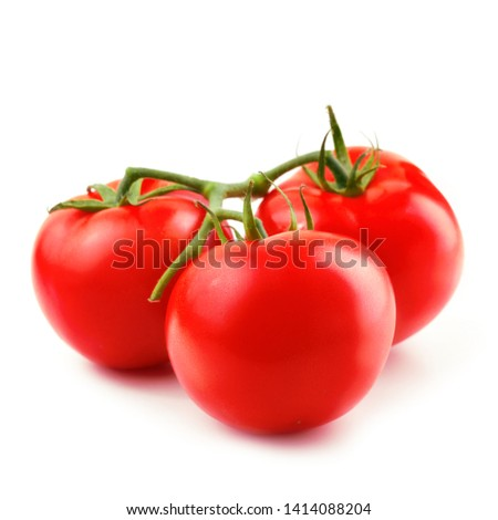 Three fresh tomatoes isolated on white background. Design elements with clipping path (clipping path is only on objects, not on shadows) #1414088204