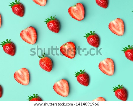 Strawberry. Pattern of strawberrys on colored background.  #1414091966