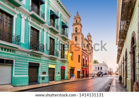 Merida, Mexico. San Idefonso cathedral in colonial city of Yucatan Peninsula. #1414131131