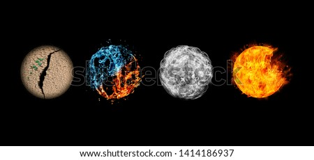 Four elements isolated on black. Royalty-Free Stock Photo #1414186937