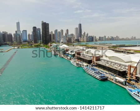 Beautiful aerial view of the Chicago Navy Pier  #1414211717