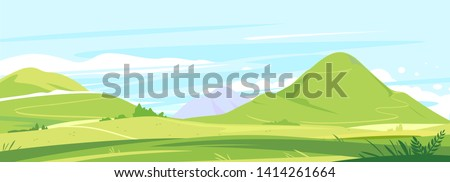 Tourist trails in the beautiful green mountains in sunny day, hiking travel concept illustration background #1414261664